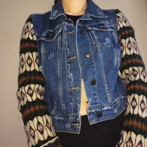 Free People Distressed Knit Sleeves Denim Jacket